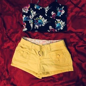 Candies yellow shorts, size 0, like new